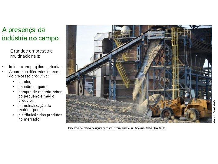 A presença da indústria no campo Grandes empresas e multinacionais: Influenciam projetos agrícolas. Atuam