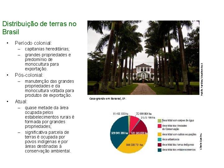 Distribuição de terras no Brasil Período colonial: • Pós-colonial: – manutenção das grandes propriedades