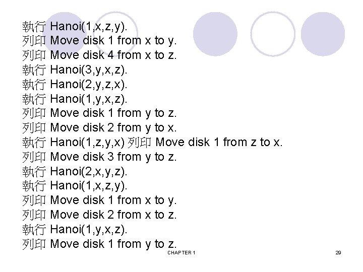 執行 Hanoi(1, x, z, y). 列印 Move disk 1 from x to y. 列印