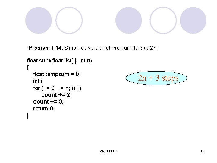 *Program 1. 14: Simplified version of Program 1. 13 (p. 27) float sum(float list[