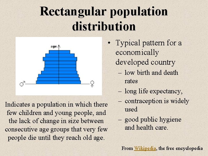 Rectangular population distribution • Typical pattern for a economically developed country Indicates a population