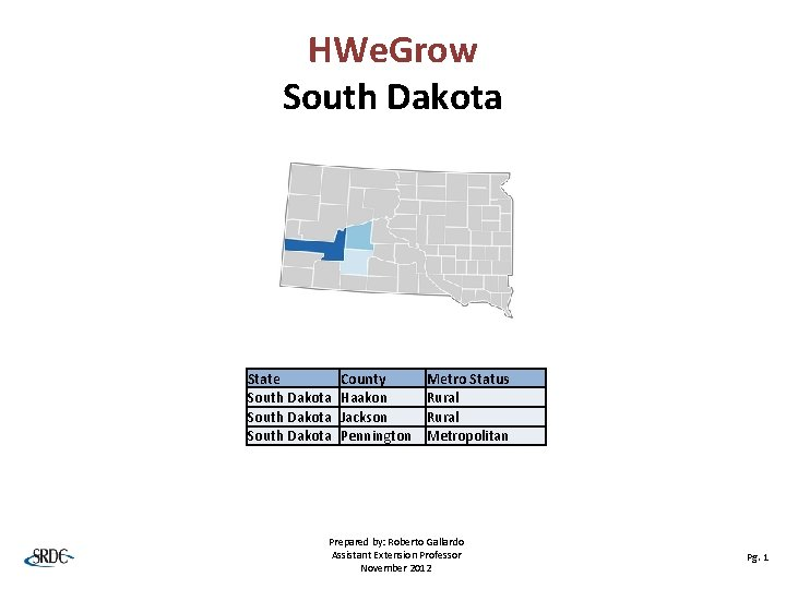 HWe. Grow South Dakota State South Dakota County Haakon Jackson Pennington Metro Status Rural
