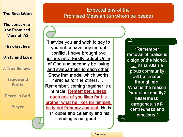 The Revelation Expectations of the Promised Messiah (on whom be peace) The concern of