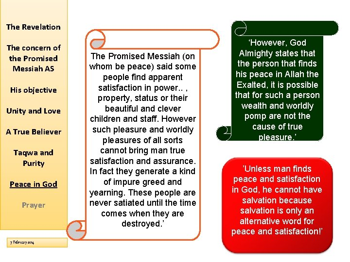 The Revelation The concern of the Promised Messiah AS His objective Unity and Love