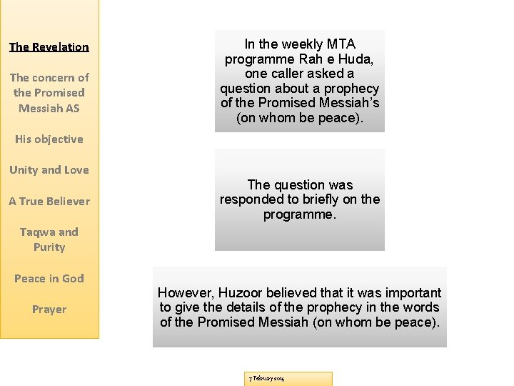 The Revelation The concern of the Promised Messiah AS In the weekly MTA programme