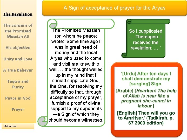 A Sign of acceptance of prayer for the Aryas The Revelation The concern of