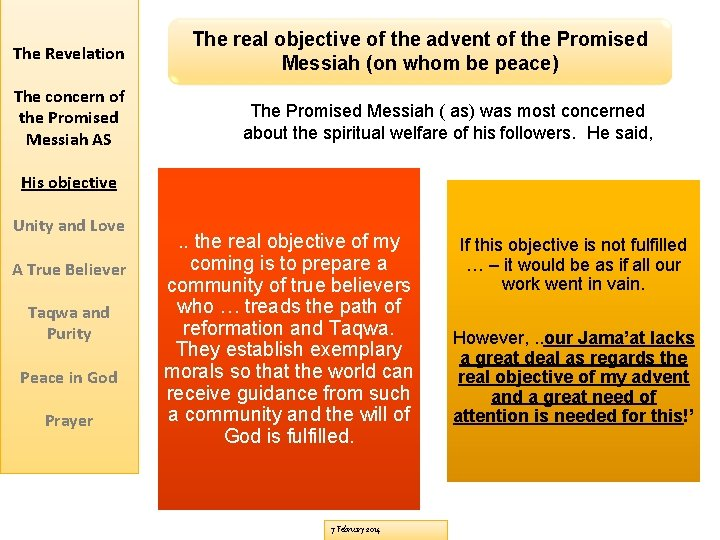 The Revelation The real objective of the advent of the Promised Messiah (on whom