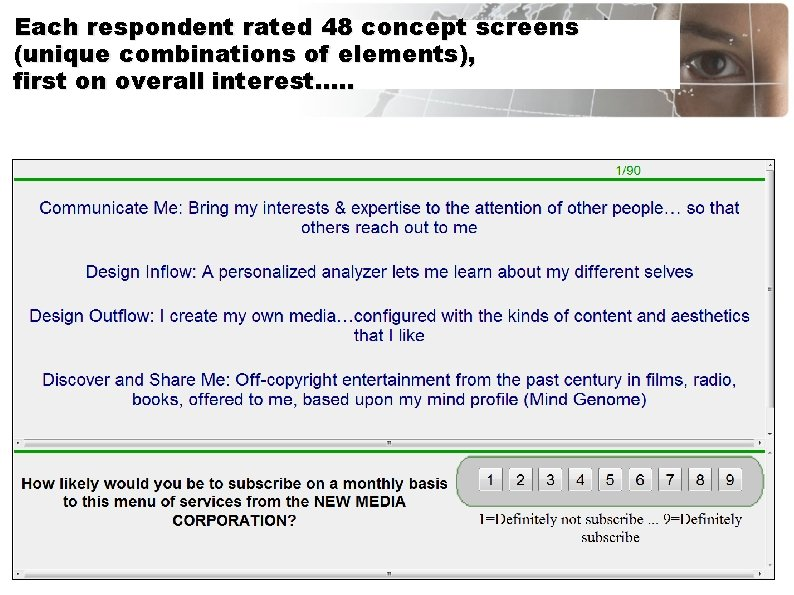Each respondent rated 48 concept screens (unique combinations of elements), first on overall interest….