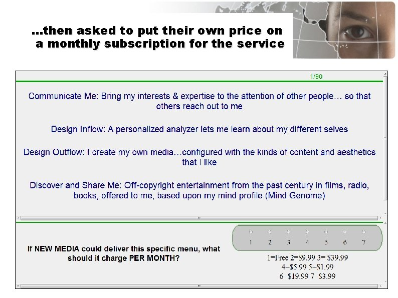 …then asked to put their own price on a monthly subscription for the service