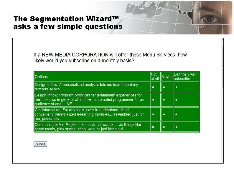 The Segmentation Wizard™ asks a few simple questions