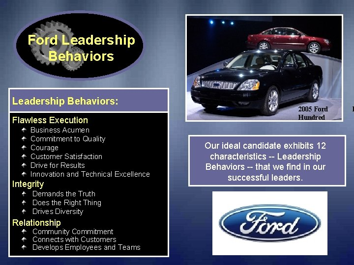 Ford Leadership Behaviors: Flawless Execution Business Acumen Commitment to Quality Courage Customer Satisfaction Drive