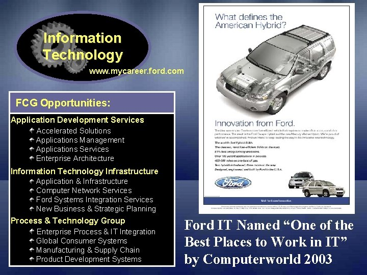 Information Technology www. mycareer. ford. com FCG Opportunities: Application Development Services Accelerated Solutions Applications