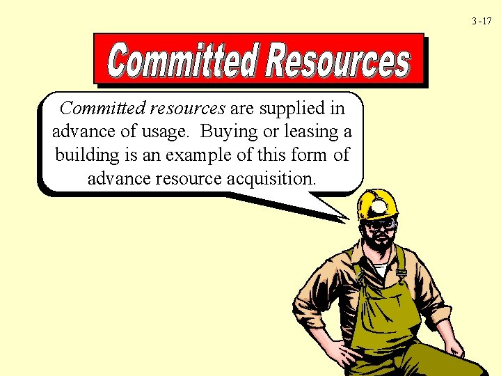 3 -17 Committed resources are supplied in advance of usage. Buying or leasing a