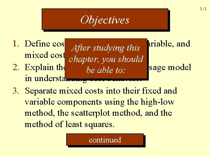 3 -2 Objectives 1. Define cost behavior fixed, After studying this variable, and mixed