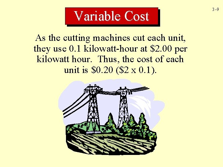 Variable Cost As the cutting machines cut each unit, they use 0. 1 kilowatt-hour