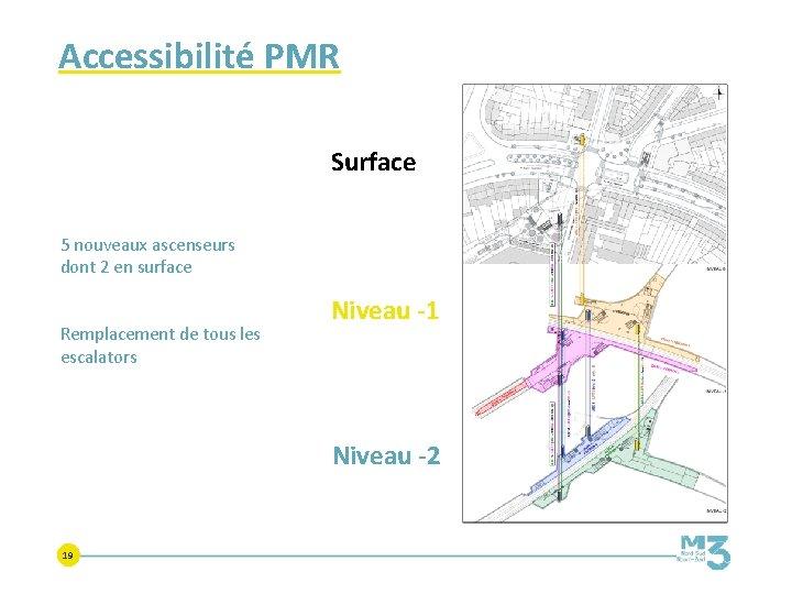 Accessibilité PMR Surface 5 nouveaux ascenseurs dont 2 en surface Remplacement de tous les