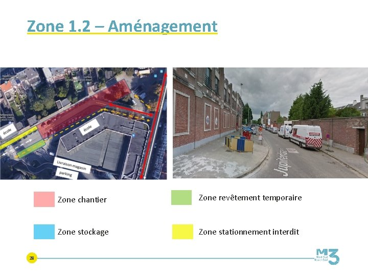 Zone 1. 2 – Aménagement 28 Zone chantier Zone revêtement temporaire Zone stockage Zone