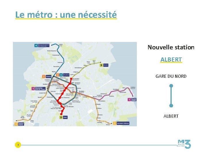 Le métro : une nécessité Nouvelle station ALBERT GARE DU NORD ALBERT 3