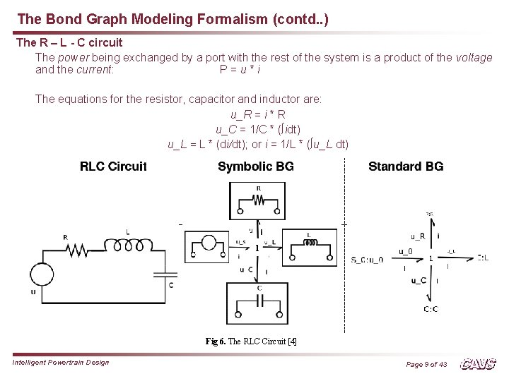The Bond Graph Modeling Formalism (contd. . ) The R – L - C