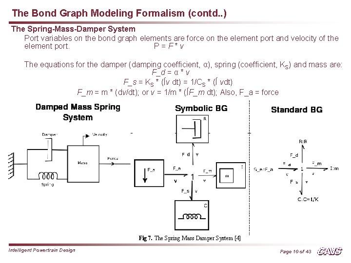 The Bond Graph Modeling Formalism (contd. . ) The Spring-Mass-Damper System Port variables on