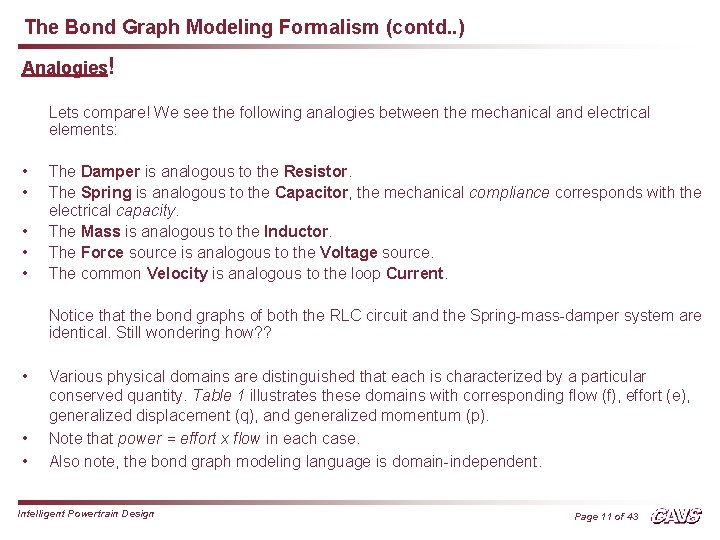 The Bond Graph Modeling Formalism (contd. . ) Analogies! Lets compare! We see the