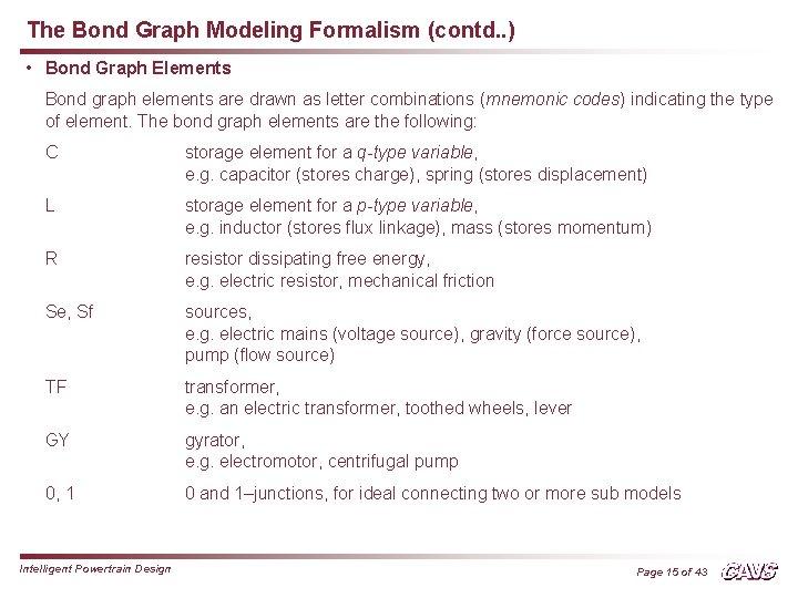 The Bond Graph Modeling Formalism (contd. . ) • Bond Graph Elements Bond graph