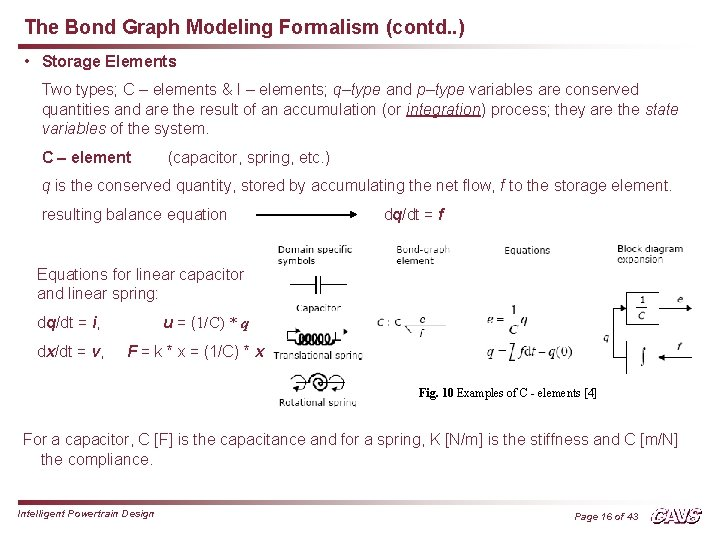 The Bond Graph Modeling Formalism (contd. . ) • Storage Elements Two types; C