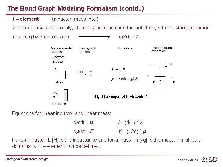 The Bond Graph Modeling Formalism (contd. . ) I – element (inductor, mass, etc.