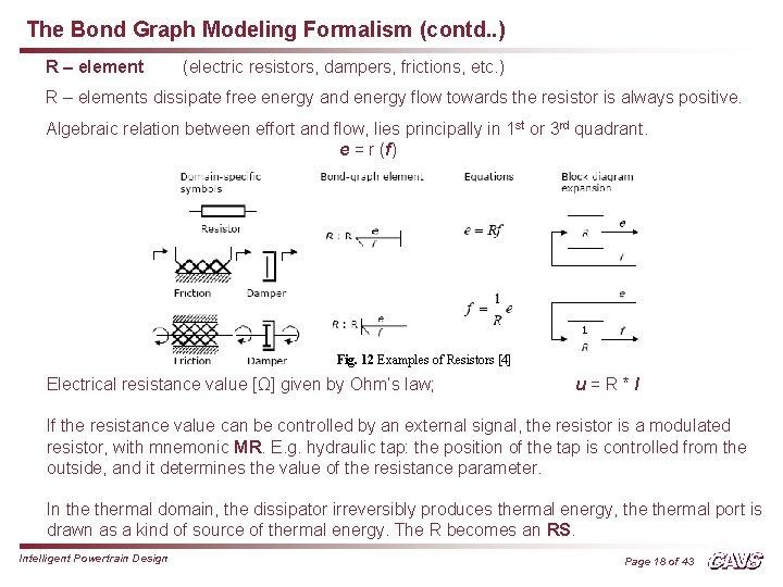 The Bond Graph Modeling Formalism (contd. . ) R – element (electric resistors, dampers,