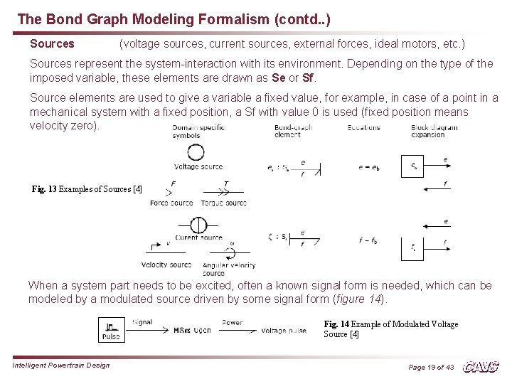 The Bond Graph Modeling Formalism (contd. . ) Sources (voltage sources, current sources, external