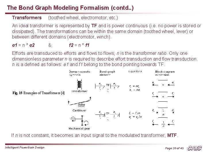 The Bond Graph Modeling Formalism (contd. . ) Transformers (toothed wheel, electromotor, etc. )