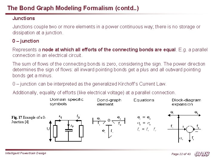 The Bond Graph Modeling Formalism (contd. . ) Junctions couple two or more elements