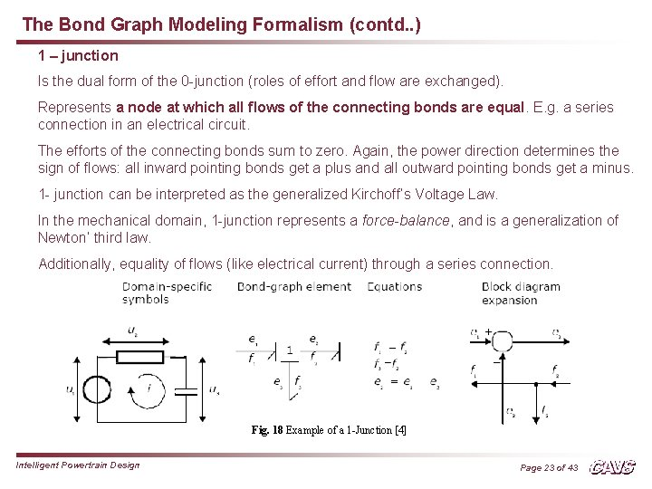 The Bond Graph Modeling Formalism (contd. . ) 1 – junction Is the dual