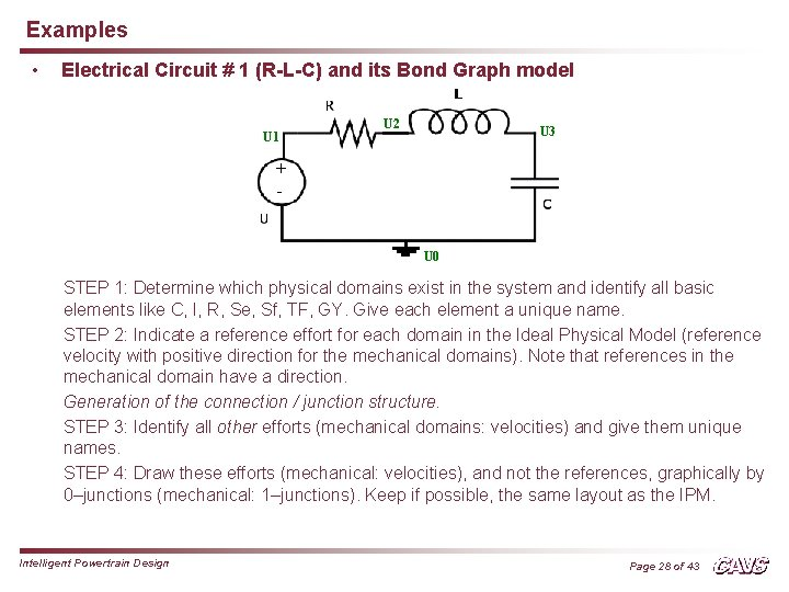 Examples • Electrical Circuit # 1 (R-L-C) and its Bond Graph model U 1
