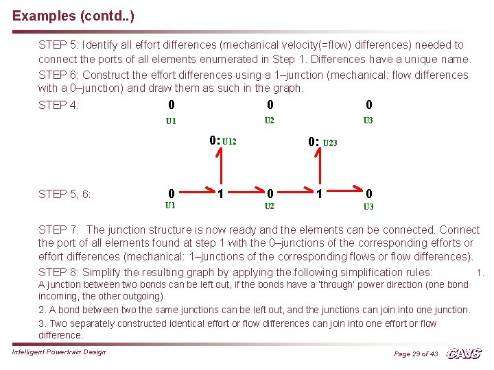 Examples (contd. . ) STEP 5: Identify all effort differences (mechanical velocity(=flow) differences) needed
