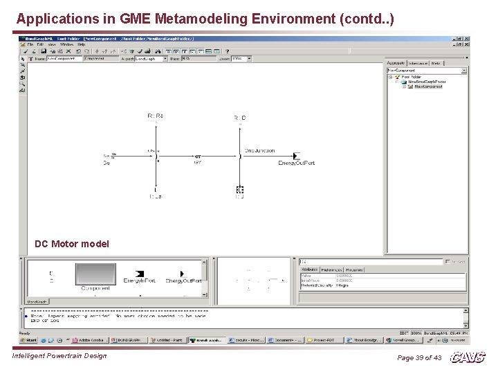 Applications in GME Metamodeling Environment (contd. . ) DC Motor model Intelligent Powertrain Design