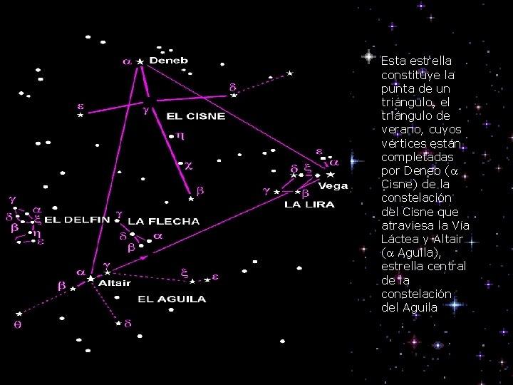 Esta estrella constituye la punta de un triángulo, el triángulo de verano, cuyos vértices