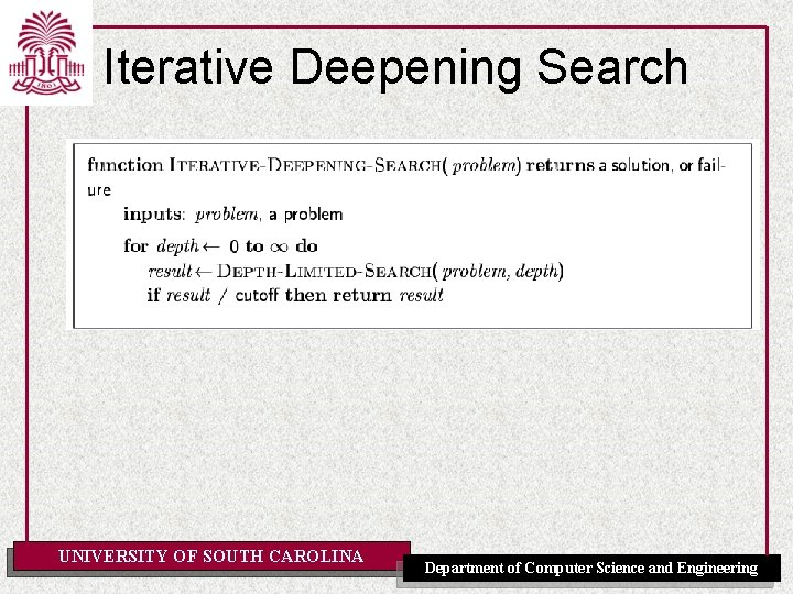 Iterative Deepening Search UNIVERSITY OF SOUTH CAROLINA Department of Computer Science and Engineering