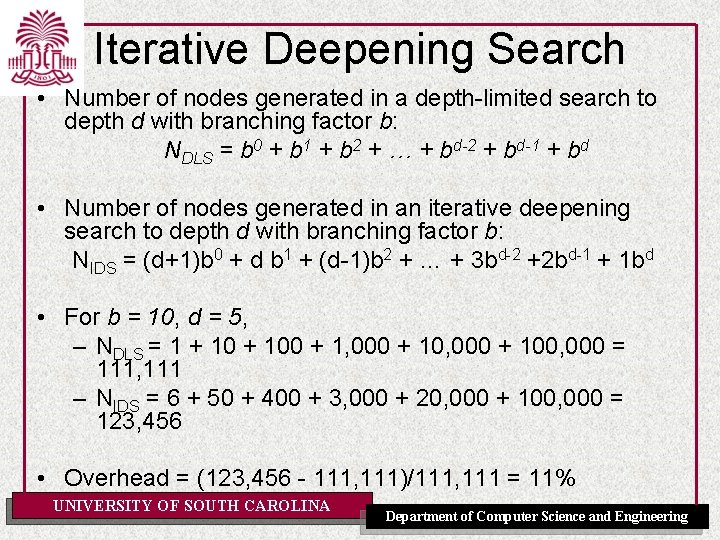 Iterative Deepening Search • Number of nodes generated in a depth-limited search to depth