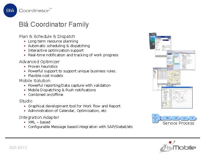 Blå Coordinator Family Plan & Schedule & Dispatch • • Long term resource planning
