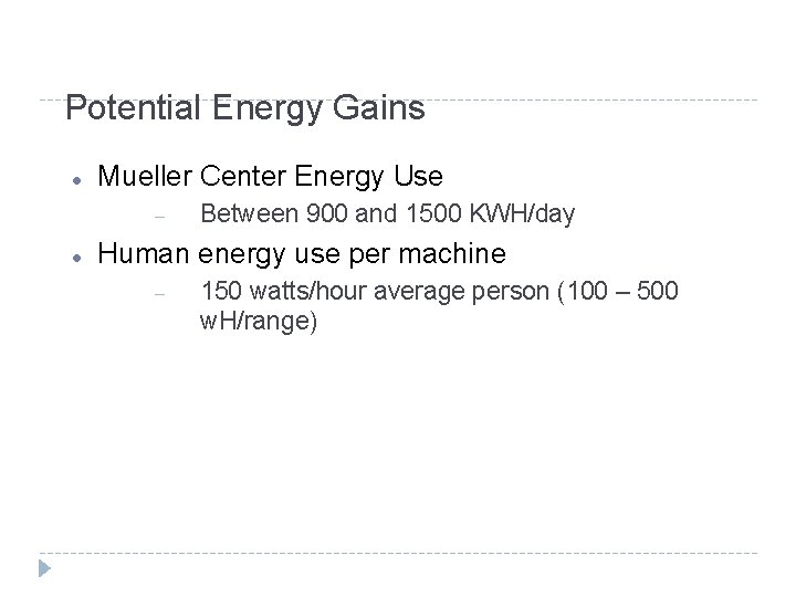 Potential Energy Gains Mueller Center Energy Use Between 900 and 1500 KWH/day Human energy