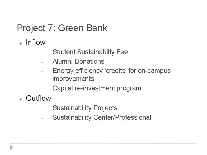 Project 7: Green Bank Inflow Student Sustainabilty Fee Alumni Donations Energy efficiency 'credits' for