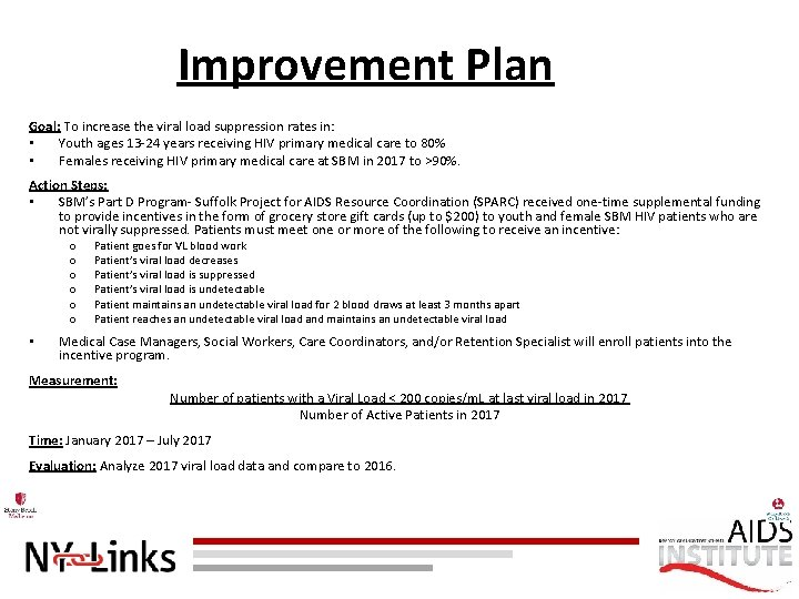 Improvement Plan Goal: To increase the viral load suppression rates in: • Youth ages
