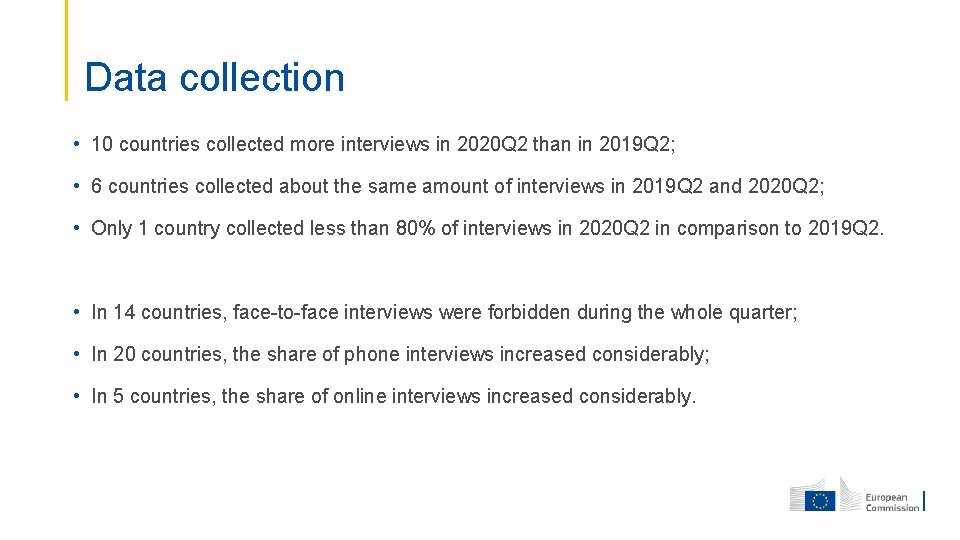 Data collection • 10 countries collected more interviews in 2020 Q 2 than in