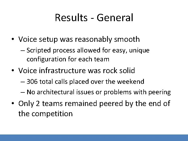 Results - General • Voice setup was reasonably smooth – Scripted process allowed for