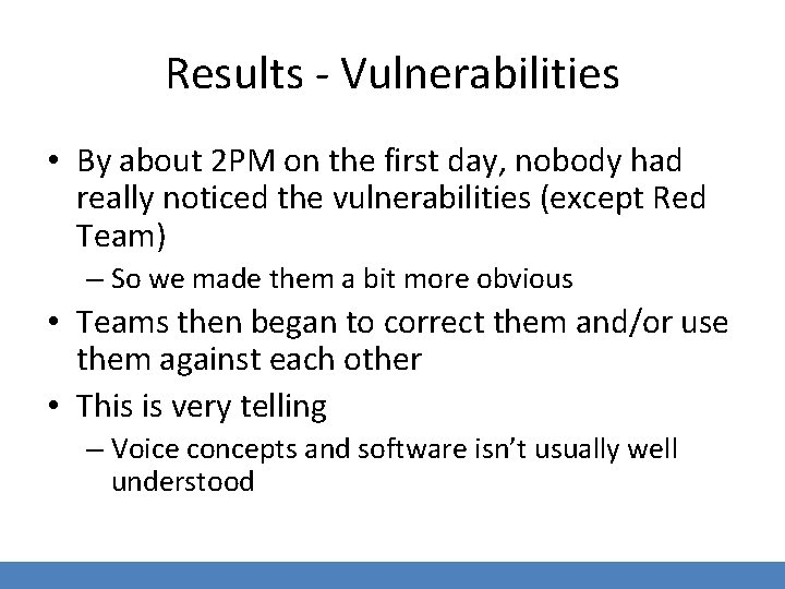Results - Vulnerabilities • By about 2 PM on the first day, nobody had