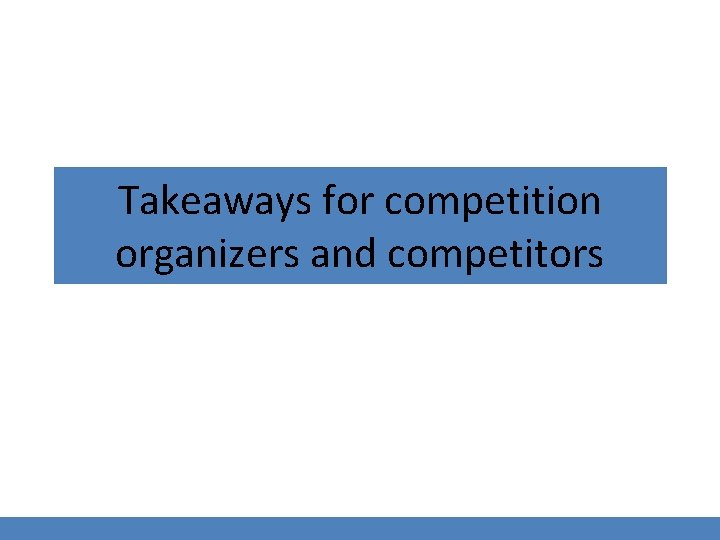 Takeaways for competition organizers and competitors