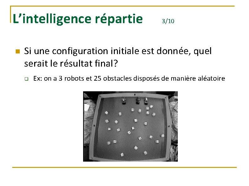 L'intelligence répartie n 3/10 Si une configuration initiale est donnée, quel serait le résultat