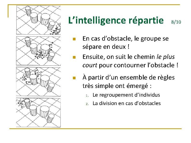 L'intelligence répartie n n n 8/10 En cas d'obstacle, le groupe se sépare en
