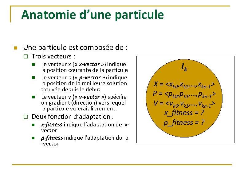 Anatomie d'une particule n Une particule est composée de : o Trois vecteurs :
